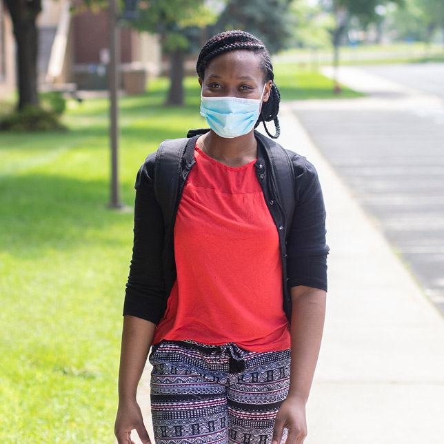 Female student wearing a face mask